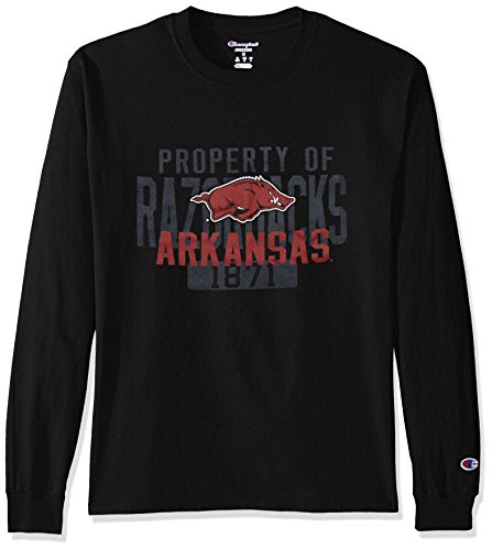 - Champion NCAA Men's Long Sleeve Lightweight T-shirt Officially Licensed 100% Cotton Tagless Tee Arkansas Razorbacks X-Large