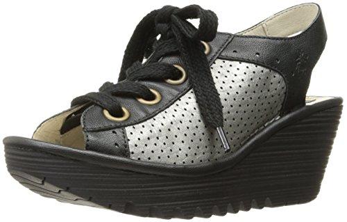 FLY London Women's Yuta617fly Platform Sandal, Black/Lead Mousse/Borgogna, 40 EU/9-9.5 M US by FLY London (Image #1)