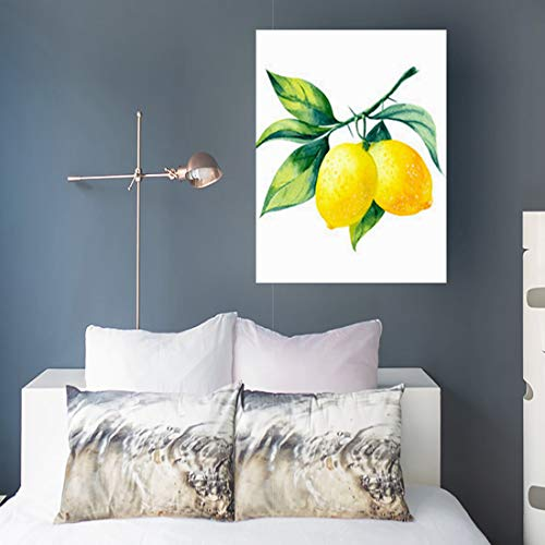 Homeyard Canvas Prints Wall Art Grove Watercolor Fruit Lemon Branch Healthy On Food Drink Nature 16 x 16 Inches Wooden Frame Stretched Artwork Painting Home Decor Bedroom -
