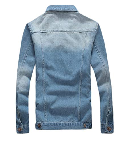 Collar Size Light Down Button Turn Down Mens RkBaoye Jacket Jean Washed Plus Blue Coat C8qnA