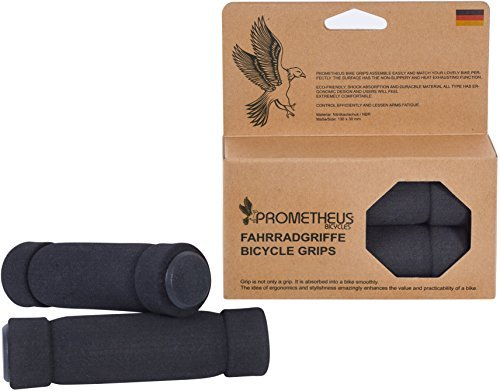PROMETHEUS Bike Grips 1 Pair | Bicycle Handlebar Grips in black | Sponge grip | Also for kids bikes | Balance bike and scooter | Safety Grips with foam cover (Foam Scooter)