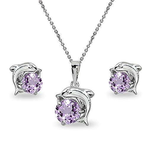 Sterling Silver Amethyst Round-Cut Dolphin Animal Dainty Pendant Necklace & Stud Earrings Set