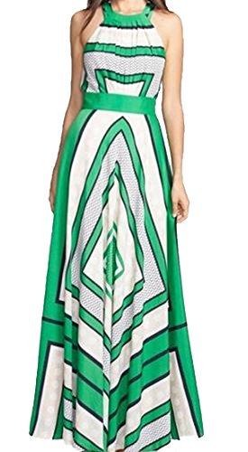 XQS Women's Elegant Floral Chevron Boho Seaside Fairy Dress Green M (Green Fairy Dress)