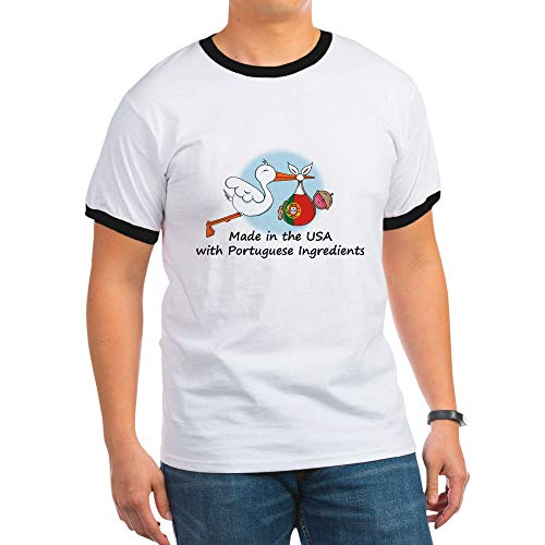 CafePress Stork Baby Portugal USA Ringer T-Shirt, 100% Cotton Ringed T-Shirt, Vintage Shirt - Ringer Team Drinking T-shirt