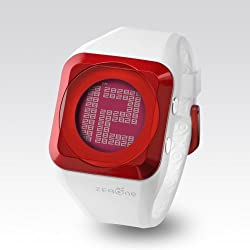 Zerone HD White Metalic Red Digital Watch