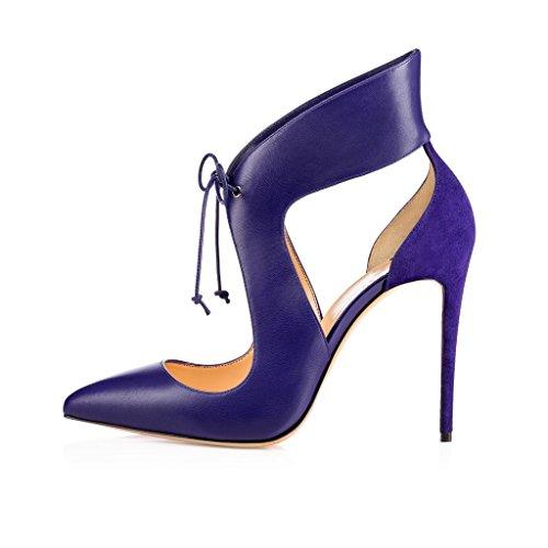 Out Tacco Cut a Stringate Spillo EDEFS Scarpe Scarpe Tacco Blue col Donna 12cm WwW0gY8q