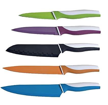 Compra Colores-Juego de 5 cuchillos de cocina con funda de ...