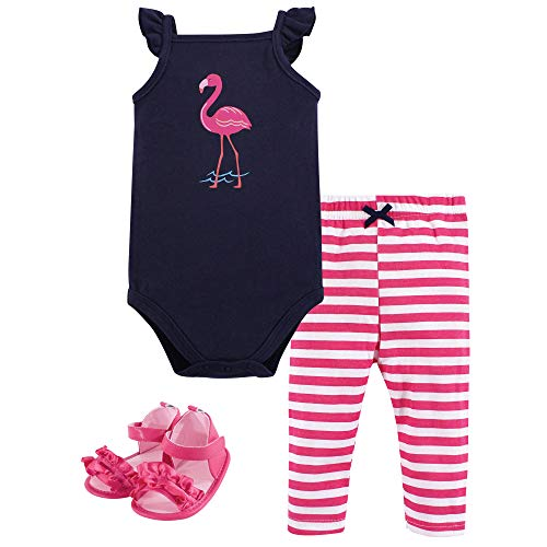 Hudson Baby Unisex Baby Bodysuit, Bottoms and Shoes, Flamingo 3-Piece Set, 3-6 Months (6M)