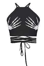 Womens Teens Girls Juniors Halterneck Sexy Vest Crop Top(Hands)