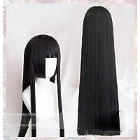HAMISS 100cm Kakegurui Yumeko Jabami Cosplay Wigs Black Straight Heat Resistant Synthetic Hair Perucas Cosplay Wig