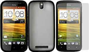 For HTC One SV PC+TPU Softgrip Hard Hybrid Gummy Gel Case Cover CLEAR/BLACK+LCD Screen Protector