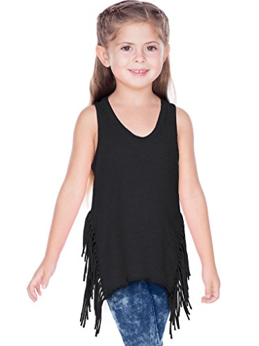 (Kavio! Girls 3-6X Sheer Jersey Asymmetrical Side Fringe Tank Black 6X)