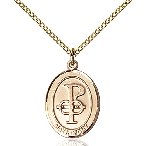 Gold Filled Matrimony Pendant 3/4 x 1/2 inches with 18 inch Gold Filled Curb Chain by Bonyak Jewelry Saint Medal Collection