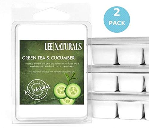 Lee Naturals Classic Collection - (2 Pack) GREEN TEA & CUCUMBER Premium All Natural 6-Piece Soy Wax Melts. Hand Poured Naturally Strong Scented Soy Wax Candle Cubes ()