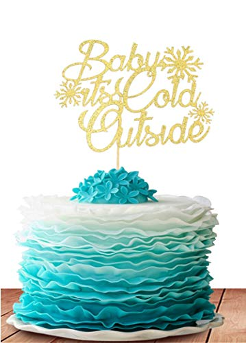 Price comparison product image GrantParty Baby It's Cold Outside Cake Topper - Winter Baby Shower Decoration Xmas Snowflake Cake Decorations(Gold)