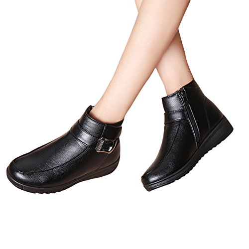 Women Buckle Time Boots Platform Snow Black Booties Winter Dear Ankle by Straps Zipper qFT5t