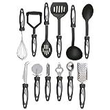 Vivo 12pc Stainless Steel Cooking Utensil Set Kitchen Gadget Tool Nylon Handles Dishwasher Safe