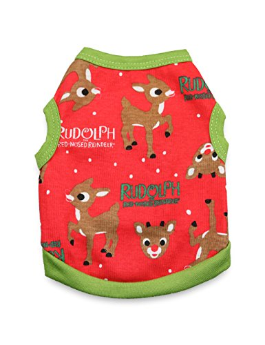 Rudolph The Red Nosed Reindeer Dog Costume (DroolingDog Dog Christmas Shirt Dog Holiday Clothes Pet Cotton T Shirt for Small Dogs, Large, Green Side)