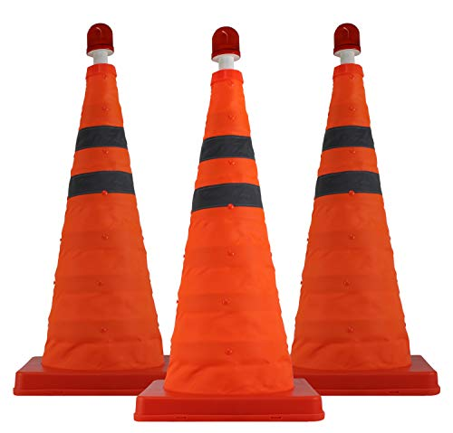(3 Pack) Collapsible Safety Traffic Cone - 22 Inch Multipurpose Pop-Up Safety Cone - Extendable with LED Light for Night Time Roadside Emergency