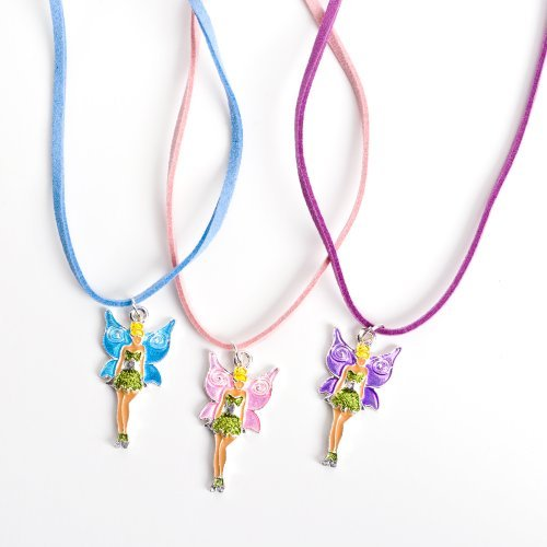 12 Girls Necklaces with Fairy Pink Purple and Blue Tinkerbell Wholesale Party Favor Costume Jewelry (Tinkerbell Items)