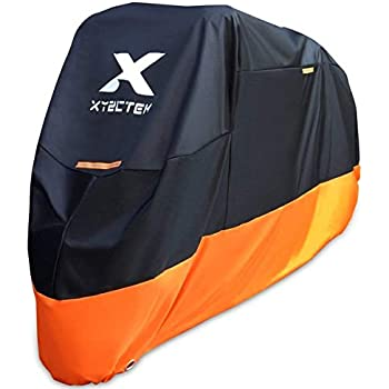 XYZCTEM Motorcycle Cover - All Season Waterproof Outdoor Protection - Precision Fit up to 108 Inch Tour Bikes, Choppers and Cruisers - Protect Against Dust, Debris, Rain and Weather(XXL,Black& Orange)