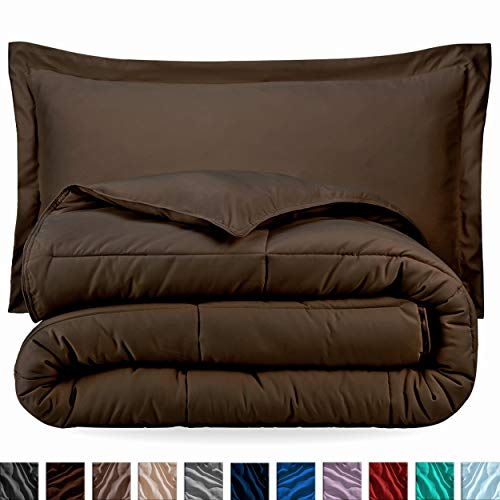 Bare Home Comforter Set - Twin/Twin Extra Long - Goose Down Alternative - Ultra-Soft - Premium 1800 Series - Hypoallergenic - All Season Breathable Warmth (Twin/Twin XL, Cocoa)