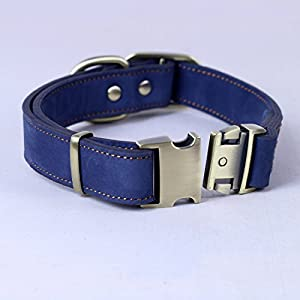 chede Luxury Real Leather Dog Collar- Handmade For Medium And Large Dog Breeds With The Finest Genuine Leather-Best Quality Collar That Is Stylish,Soft Strong And Comfortable-Blue Dog Collar