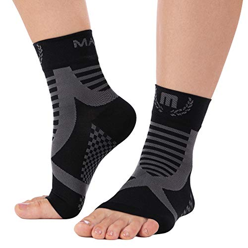 Mava Sports Ankle Brace Support Sleeve – Plantar Fasciitis Compression Socks, Relieve Achilles Tendonitis, Joint Pain, Sprained Ankle, Swelling – Faster Injury Recovery – for Walking, Running & Sports