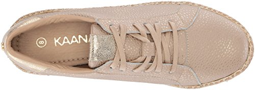 KAANAS Womens Arizona Leather Espadrille Platform Lace-up Sneaker, Cappuccino, 8 M US