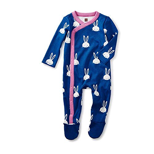 - Tea Collection Footed Romper, Bunnies, Blue Background with Pink Trim and White Bunnies (3-6 Months)