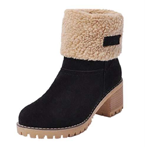 De Forrado 43 Altas Cm Casual Botines Snow Boots Zapatos Invierno Botas Calentar Moda Outdoor Negro Naranja Mujer Tacon Caqui Nieve 6 35 PtnwCP1q