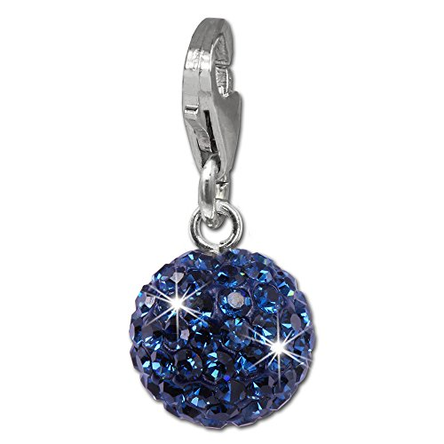 SilberDream Glitter Charm small blue ball 925 Sterling Silver Charms Pendant for Charms Bracelet, Necklace or Earring GSC220B (Bracelet Ball Glitter)