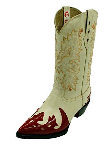 Bottes De Cowboy Western En Cuir Véritable Pour Hommes Avec Design Beige