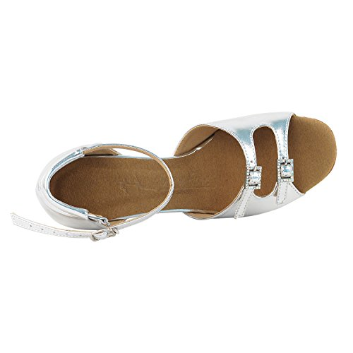 Gold Pigeon Shoes Party Party SERA1620 Comfort Evening Dress Pump, Wedding Shoes: Women Ballroom Dance Shoes High-Medium Heel, Salsa, Tango, Latin, Swing Salsa Tango Swing Latin 1620- Silver Leather