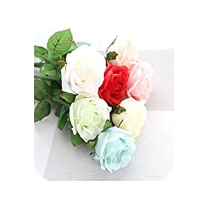 10PCS Real Touch Rose Artificial Flowers Rose Flower Wedding Bouquet Party Flowers Bridesmaid Home Decorative Fake Flower,Mix 9