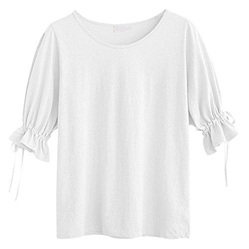 Maniche 3 Bianco Girocollo Blusa Maglietta Camicia Colore Tempo 4 Donna Puro Heheja Libero fvq1Fz1