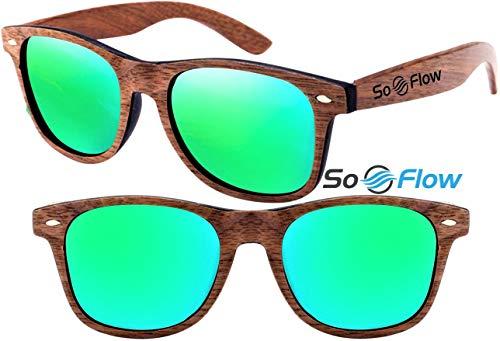 SoFlow Green Walnut Polarized Wood Sunglasses Men Women - Wooden - Mirror Mirrored Lens - Prime UV400 Protection - Lightweight Walnut Sunglasses with Neon Green Lens