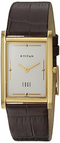 Titan Edge (Titan Men's 'Edge' Quartz Stainless Steel and Leather Casual Watch, Color:Brown (Model: 1043YL04))