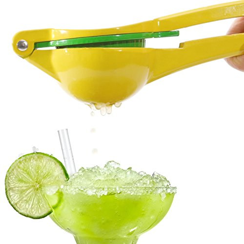 TSNZ 2-in-1 Citrus Juicer, Lemon Lime Squeezer, Manual Press, Tough Enameled Aluminum, Trendy Yellow and Green (Juicer Press Yellow compare prices)