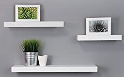 Kiera Grace Maine Wall Ledges , 12 Inch, 16 Inch, 24 Inch, White, Set of 3