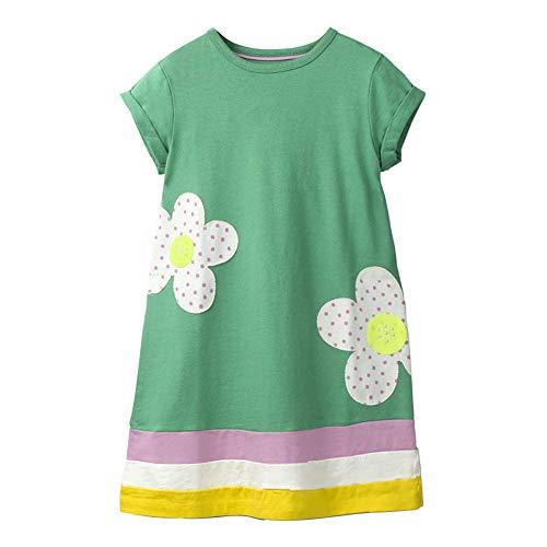 (HILEELANG Easter Dress Little Girl White Flower Green Organic Cotton Casual Spring Summer Dress Short)