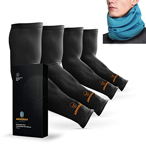ARMORAY Arm Sleeves for Men or Women - Compression Warmers to Cover Tattoo - For Basketball Golf Running Football Cycling or Sun Protection (Black 4 Pair)