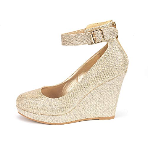 DREAM PAIRS Women's ASH-22 Gold Glitter Mary Jane Round Toe Platform Fashion Wedges Pumps Shoes Size 5.5 US - Glitter Platform Mary Jane
