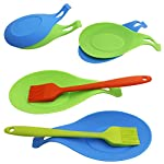 YuCool 5 Pack Silicone Basting Brush, Pastry&Basting Oil Brush with 2 Rest for BBQ,Turkey Baster,Cake,Barbecue Utensil,Grilling,Marinating-5 Colors 11 High Quality:Hygienic solid silicone with Steel Support inside, will not melt,warp,discolor,or shrink like plastic or wooden brushes. Package:You will get 5 silicone brush and 2 silicone spoon rest,It's very convenient for you to replace,elegant design for kitchen work. Color and Dimension:5 Colors (Black,Blue,Red,Green,Orange),Brush size:8.2in*1.3in;Spoon Rest size:7.9in*3.8in. These beautiful colors will let your kitchen light up soon,keep a colorful and nice kitchen.