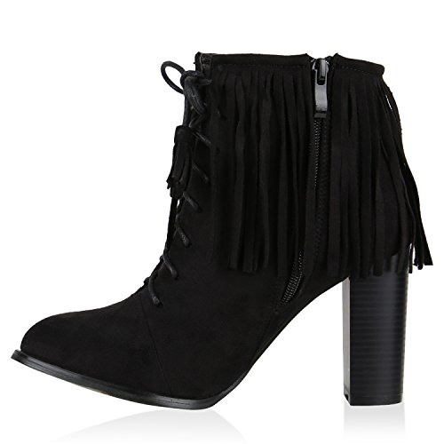 Gefütterte Damen Stiefeletten Retro Look Fell High Heels Boots Flandell Schwarz Fransen Autol