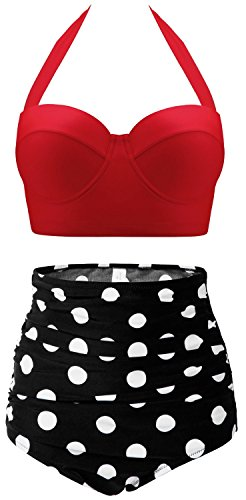 CHERRY CAT Polka High Waisted Bikinis Underwire Swimsuits Swimwear (Red&Black,3XL)