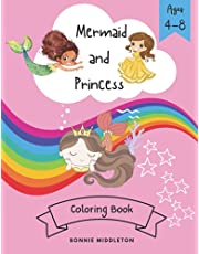 Mermaid and Princess Coloring Book: Cute Coloring Page for Kids Ages 4-8 (Fun Book Activity)
