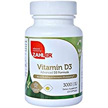 Zahler Vitamin D3 3000IU, All-Natural Supplement Supporting Bone Muscle Teeth and Immune System , Advanced Formula Targeting Vitamin D Deficiencies, Certified Kosher, 120 Softgels
