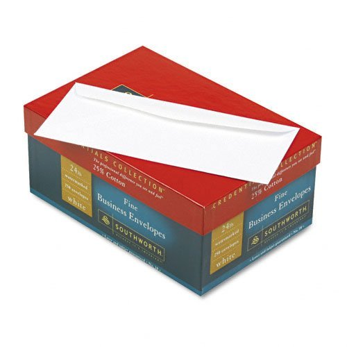 Southworth Credentials Collection™ 25% Cotton Fine Business #10 Envelopes, 24 Lb, White, Box Of 250