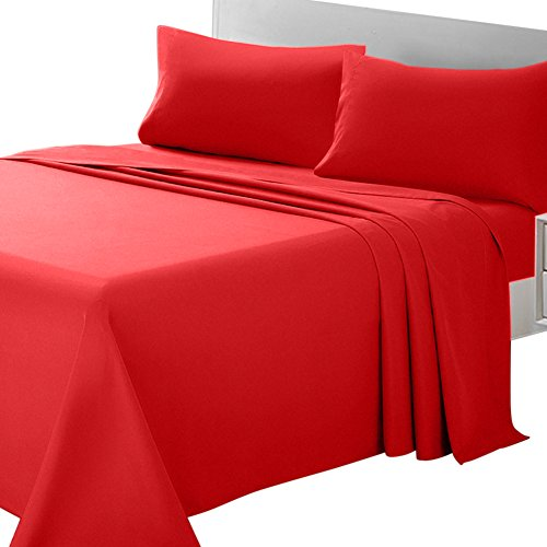 ARTALL Soft Microfiber Bed Sheet Set 4-Piece with Deep Pocket Bedding - Queen, Red (Red Sheets Queen)